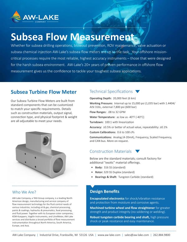 SUBSEA PD FLOW METER-AW- Lake Company