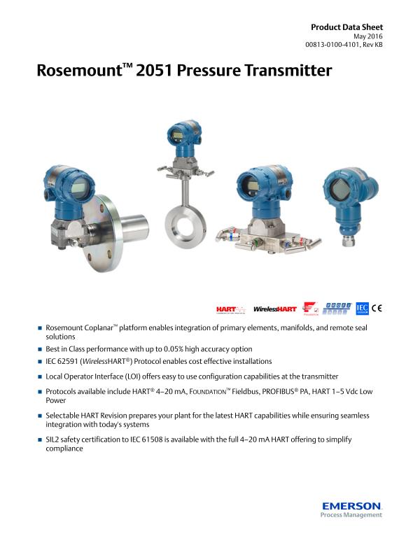Product Data Sheet: Rosemount™ 2051 Pressure Transmitter